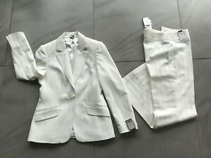 Next Smart Jacket & Trousers Suit BNWT UK 12 With Stretch Cream Machine Washable
