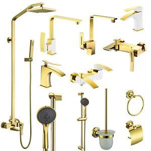 GK Badarmaturen Bad Wasserhahn Mischbatterie GOLD Duscharmatur Duschsystem Neu