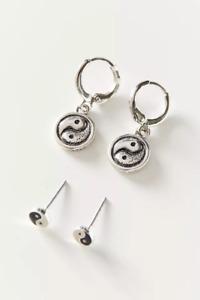 BN Urban Outfitters Yin Yang Peace Stud & Hoop Earrings Set Hoops Y2K 90's GIFT