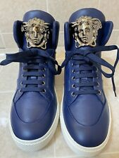 NEW VERSACE DARK BLUE LEATHER PALAZZO HIGH-TOP SNEAKERS 39 - 6