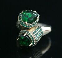 Turkish Handmade Sterling Silver 925 Jewelry Emerald Ladies Ring Adjustable
