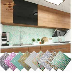 Mosaic Tile Peel Self adhesive Backsplash DIY Kitchen Bathroom Wall Sticker 3D