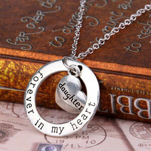 Member Heart Pendant Necklace Daughter Forever In My Heart Circle Love Family