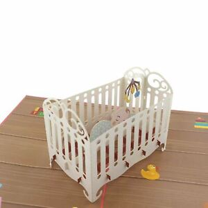 New Baby in the cot 3d Pop Up Card