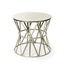 MAGNIFICENT RARE JANSEN STYLE POLISHED NICKEL METAL SILVER ROUND TABLE