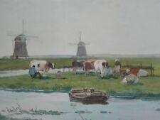 Aquarell MILKING TIME / Marinus Gidding / Polder, Kühe, Holland ca. 1920
