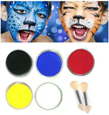 Childrens Face Paint Set White Red Yellow Blue Black Kids Painting Brush Kit