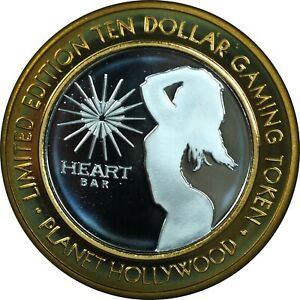 $10 Silver .999 Casino Token - Heart Bar Planet Hollywood