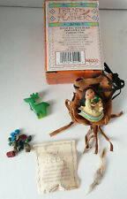 1996 Enesco Deer Friends Of A Feather Fetish Bag W/ Beads Pin New Box Shelf Wear