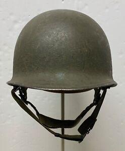 Original WWII Front Seam,Swivel Bale M1 Paratrooper Helmet & Liner 1960s Reissue