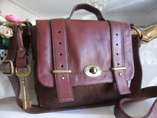 FOSSIL MASON MAROON & BROWN  LEATHER TURN-LOCK CROSSBODY SHOULDER BAG LARGE KEY
