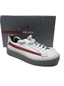 $750 New PRADA Mens Shoes Sneakers White Size 8 US 7 UK 41 EU