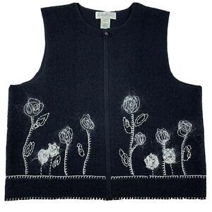 Susan Bristol Embroidered floral Boiled Wool Sweater Vest Zipper Large L
