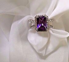 Fashion Womens Purple White Gold Plated 18k Cocktail Cubic Zirconia Ring Size 8