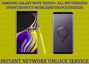 SAMSUNG NOTE 9|S9|S9+ SPRINT|BOOST UNLOCK SERVICE - REMOTE UNLOCK.
