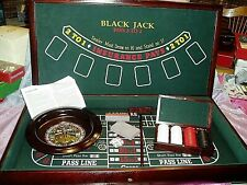 """EXCALIBUR 3 IN 1 CASINO HOUSE CRAPS BLACK JACK ROULETTE WOOD CABINET SET"""