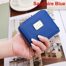 Fashion Women Girls PU Leather Wallet Card Holder Zip Coin Purse Clutch Handbags Sapphire Blue