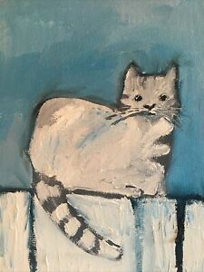Tabby Cat oil painting A Day 5 X 7 Collectible Farm House BGKoscelny