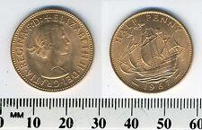 GREAT BRITAIN 1967 -  Half Penny  Bronze Coin - Queen Elizabeth II