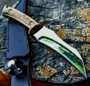 Claw Knife Karambit Fixed Blade Hunting Combat Survival Tactical Wood Handle Cut