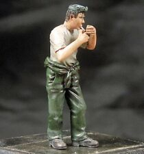 Djiti's 1/35 Generic Man Figure lighting a Cigarette in Overalls & T-shirt 35054