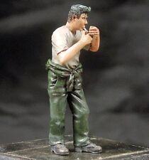 Djiti's 1/35 Generic Man Figure lighting a Cigarette in Overalls & T-shirt 35054