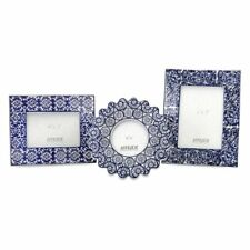 """IMAX Lucinda Picture Frames - Set of 3, Blue and White, 8.25,7.5,8"""" X 8.5,9,10"""""""