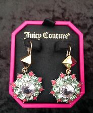 Juicy Couture New Gen.Gold,Pink & Green Gemstone Drop Earrings (Pierced) In Box