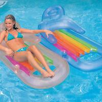 """Intex 63"""" x 33"""" King Kool Swimming Pool Lounge Mattress Float Blue & Silver 2 Pk"""