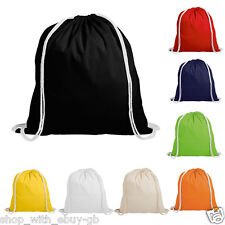 New 100% Cotton Drawstring Bags School Gym PE Kit Book Bag Rucksack Backpack UK