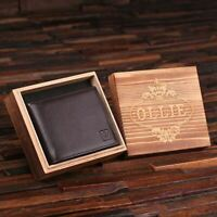 Personalised Mens Full-Grain Leather Wallet Monogram Customised w/ Keepsake Box