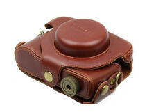 (BROWN) Camera Hard Leather Case Pouch Bag For Panasonic Lumix DMC LX7 +STRAP