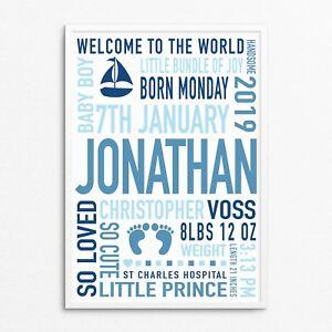 Personalised Sailboat Nautical Newborn Baby Boy Gifts Bedroom Nursery Print