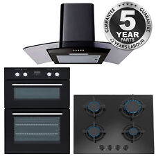 SIA Built In Electric Double Oven, 60cm Black Cooker Hood and 60cm Black Gas Hob