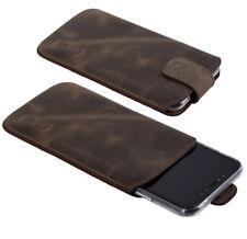 Suncase Leder Handy Hülle Tasche Antik Braun Etui + Silikon Case für iPhone 11