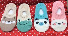 Cartoon Animal Women Cotton Liner Socks, Toe Cover Socks, Loafer Socks bear, cat