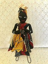 Vintage Primitive Islands RAG DOLL on Stand Hand Made Caribbean Woman & Baby WOW