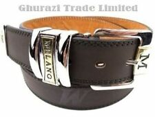 "BROWN BELT MEDIUM MEN'S QUALITY LEATHER MILANO BELT WAIST 32"" - 36"" Wide 1.5"""