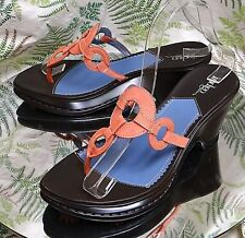CLARKS BLUE PINK BROWN SANDALS THONG TOE SLIDES DRESS HEELS SHOES WOMENS SZ 7 M
