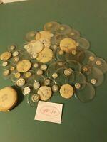 Lot 50 Vtg Round Glass Watch  Pocket Watch Crystals Round Variety Sizes New #31