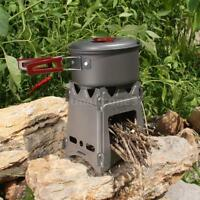 Ultralight Outdoor Cooking Picnic Mini Wood Stove Titanium Camping Burner Z7F4