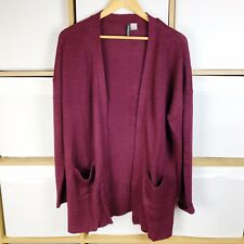 H&M Divided Womens Burgundy Open Front Knitted Cardigan Size L BNWOT