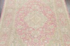 Animal Pictorial PALE PINK Muted Oushak Turkish Area Rug Distressed WOOL 9x12