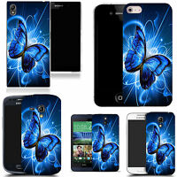 hard durable case cover for samsung & other mobile phones- blue twirl butterfly