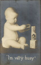 Baby Playing w/ Toy Blocks w/ Images on Them c1910 Real Photo Postcard
