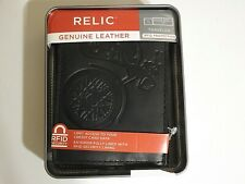 RELIC Men's Motorcyle Rider Genuine Leather RFID Security Traveler Wallet - NEW