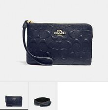 AUTH COACH. PATENT LEATHER SIGNATURE MIDNIGHT BLUE WALLET WRISTLET. NWT F30049