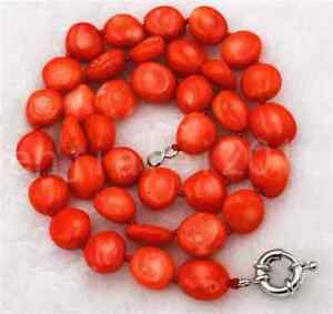 "New 6x10mm Orange Red Coral Freeform Loose Beads necklace 18 "" AAA"
