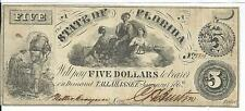 1862 State Florida Tallahassee $5 CR14  3 maids slave carries cotton #8816 Rare