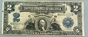 Series of 1899 $2 Silver Certificate * WASHINGTON Note * Large Sized